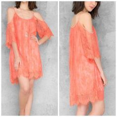 Eyelash Lace Coral Cold Shoulder Shift Dress Delicate beautiful eyelash shift dress. New with tags. Sizes small and XS available. The brand is ALYA, listed as FL&L for exposure! Fits beautifully and falls to flatter! For Love and Lemons Dresses Mini