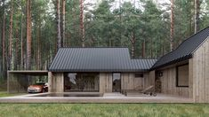 House in woods Modern Barn House, Timber House, Prefabricated Houses, Prefab Homes, Future House, Casas Containers, Forest House, House In The Woods, Building A House