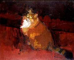 Ruskin Spear is a well-known portrait painter, people in pubs and cats populate his works. One of the cats must have been his own, Trixie. Impressionist Artists, Pretty Cats, Pretty Kitty, Cat Colors, Medium Art, Cat Art, Love Art, Illustration Art, Artwork