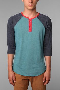 for Jerm Alternative 3/4-Sleeve Two-Tone Henley  #UrbanOutfitters