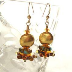 Jewelry Earrings Gold Vermeil Blue Amber Lampwork Glass Dangle