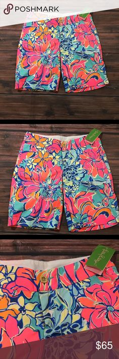 Lilly Pulitzer Chipper Shorts Seaside Aqua Breezy Babe Printed Bermuda Short Front slash and back welt pockets Zipper fly Button Closure Lilly Pulitzer Shorts Bermudas
