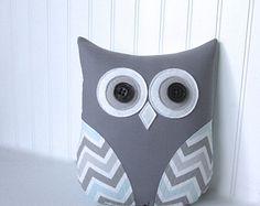 decorative owl pillow, chevron owl, chevron blue pillow, blue and gray chevron, mist blue, nursery decor by whimsysweetwhimsy