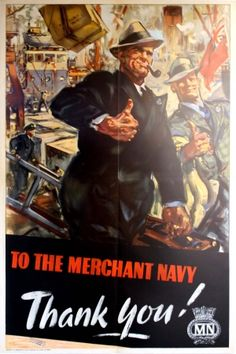 Thank You! WWII, 1940s - original vintage poster listed on AntikBar.co.uk #MerchantNavyDay