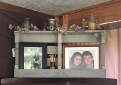 This shelf is 36x18x5 and is great for displaying pictures! This one has been stained with sun bleached but can be left plain or stained a different color as well. **All items are one of a kind creati