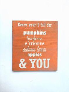 Fall sign pumpkin wooden decor autumn decor by HarlowDionneDesigns