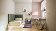 Una cama de esquina, perfecta para amueblar habitaciones pequeñas, donde no hay sitio para una cama en el centro de la habitación.