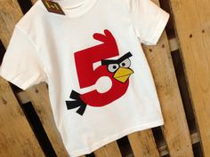 Angry Birds birthday shirt. Available in any number. Four, Five, Six, etc.. $18.00, via Etsy.