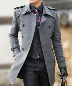 Men's Black Dress Shirt, Red and Navy Vertical Striped Tie, Charcoal Plaid Waistcoat, Grey Overcoat, Charcoal Plaid Dress Pants, and Black Leather Gloves