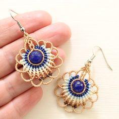 Peacock Jewelry, Peacock Earrings, Macrame Earrings, Crochet Earrings, Peacock Tail, Peacock Feathers, Micro Macrame, Jewelery, My Favorite Things