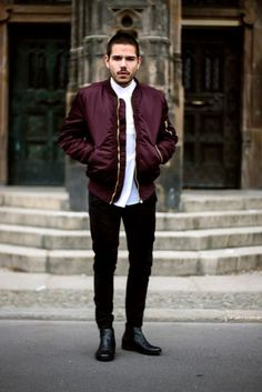 Jacket menswear hoodie clothes jaclet boy fashion vintage style like bomber jacket menswear outerwear burgundy mens Bomber Jacket Outfit, Brown Leather Bomber Jacket, Leather Boots, Black Leather, Blazer Fashion, Mens Fashion, Cool Bomber Jackets, Teenage Boy Fashion, Black Ripped Jeans