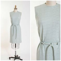 Vintage Early 1960s Dress Slate Blue Wool with by stutterinmama