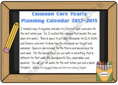 Common Core Yearly Planner
