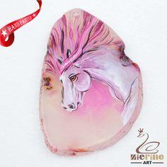 Hand Painted Horse Agate Slice Gemstone Necklace Pendant Jewlery D1706 0148 #ZL #Pendant