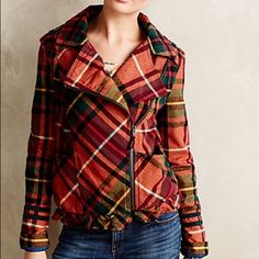 ANTHROPOLOGIE HEI HEI Honeycrisp Plaid Bomber, L Beautiful ANTHROPOLOGIE HEI HEI Honeycrisp Plaid Bomber Jacket, NWOT, L, PERFECT CONDITION I am a size 36DD, Large, 10/12, and this coat was slightly large on me Anthropologie Jackets & Coats