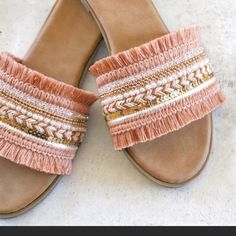 Trendy Sandals, Boho Sandals, Fringe Sandals, Cute Sandals, Cute Shoes, Women's Shoes Sandals, Me Too Shoes, Beach Sandals, Flat Sandals