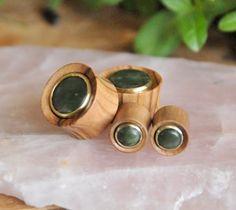 Olive Wood plugs with Nephrite Jade inlay by OaksAesthetics