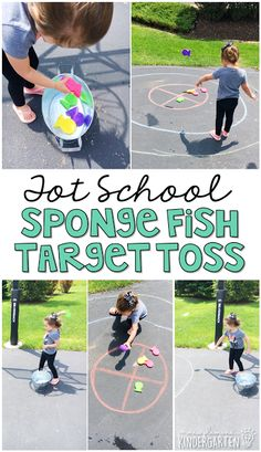 Get moving with this sponge fish target toss gross motor activity. Perfect for an ocean theme in tot school, preschool, or the kindergarten classroom. Ocean Activities, Gross Motor Activities, Animal Activities, Infant Activities, Physical Activities, Learning Activities, Teaching Ideas, Physical Education, Health Education