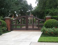 entry gate - brick columns on exterior of gate House Front Gate, Front Gates, Entrance Gates, Farm Gate, Fence Gate, Fencing, Brick Columns, Driveway Entrance, Rustic Entryway