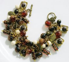 Fall Charm Bracelet, Fall Jewelry, Autumn Beaded Charm Bracelet