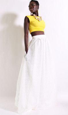 Daisy Off White Maxi Skirt With Pockets by DIMILOC #white #lace #maxiskirt #maxi #yellow #wedding #highwaistskirts