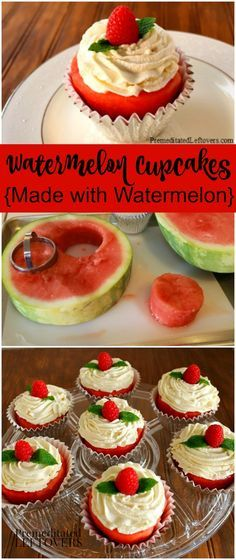 How to make watermelon cupcakes with real watermelon. A step by step tutorial showing how to make create watermelon cupcakes and decorate them with berries.(How To Make Bread Step By Step) Watermelon Recipes, Fruit Recipes, Summer Recipes, Cake Recipes, Dessert Recipes, Watermelon Cakes, Fruit Cakes, Healthy Cupcakes, Healthy Desserts