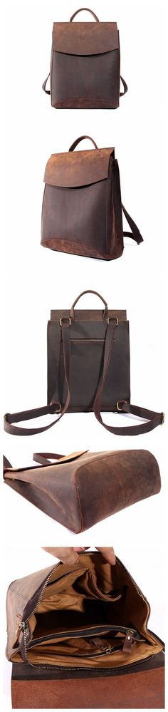 Vintage Style Cowhide Leather Backpack Travel Backpack Unisex Backpack School Backpack For Teens