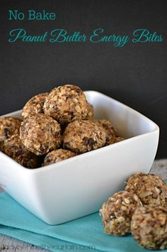 No Bake Peanut Butter Energy Bites with oatmeal, flax and chia seeds