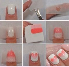 Heart ombre nails
