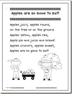 Apples are so Good to Eat. Use this poem for Students to recognize and highlight the upper and lower case Aa's.