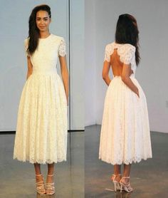 Houghton Tea Length Lace Wedding Dresses 2016 With Sleeves For Women Short Cap Sleeve Backless Hidden Pockets A Line Jewel Neck Bridal Gowns Perfect Wedding Dresses Simple Bridal Dresses From Bestdavid, $120.61| Dhgate.Com