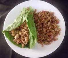 Asian Style Chicken Lettuce Wraps - ground chicken, shallot, mushrooms, chicken broth, soy sauce, peanut butter, lettuce leaf cups, Teriyaki sauce (soy sauce, splenda, ground ginger, garlic powder, xanthan gum [might omit]). She served hers with cauliflower fried rice!