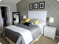 Black And White And Yellow Bedroom yellow, white, grey and black bedding. i love this color scheme