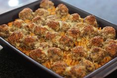 italian meatball and pasta bake#easy recipes for dinner #