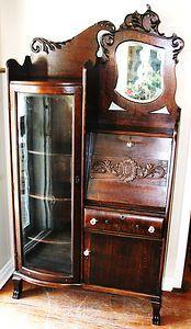 Oak Secretary Desk And Bookcase Side By Side Hubby To