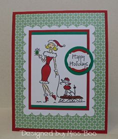 Poodle on a Sled by Miss Boo - Cards and Paper Crafts at Splitcoaststampers