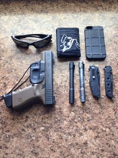 My EDC for today, switch it up between Glock 19 and Walther PPQ, i love the Walther far more, but want to keep comfy with both, always must have a back up flashlight and knife, and Iphone 5 GHOSTMAN