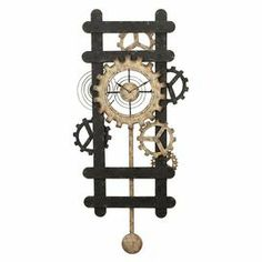 "Iron wall clock with a gear motif.Product: Wall clock    Construction Material: Iron       Color: Multi    Features:Masculine appealMulti-gear pendulum    Accommodates: (1) AA battery - not included  Dimensions: 48.1"" H x 23"" W x 2.2"" D      Cleaning and Care: Wipe with soft dust cloth"