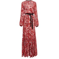 Alexis Felice Velvet Embroidered Dress (€1.025) ❤ liked on Polyvore featuring dresses, red, red sleeve dress, blouson dress, red bow dress, floral embroidered dress and slit sleeve dress