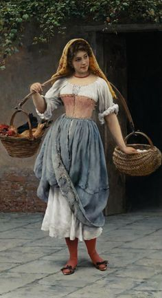 Eugene de Blaas (1843-1931), Which Came First?, 1899, oil on panel  ~  chicken eggs fowl birds Italy Italian woman market 1890s 1900s