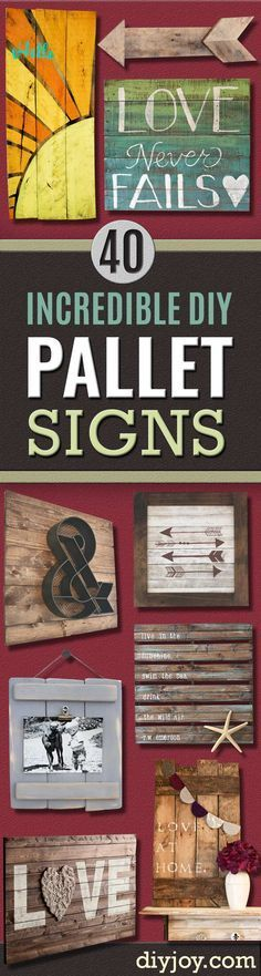 40 Incredible DIY Pallet Signs DIY Pallet sign Ideas Cool Homemade Wall Art Ideas and Pallet Signs for Bedroom Living Room Patio and Porch. Creative Rustic Decor Ideas on A Budget The post 40 Incredible DIY Pallet Signs appeared first on Pallet ideas. Pallet Crafts, Diy Pallet Projects, Pallet Ideas, Wood Projects, Craft Projects, Wood Ideas, Woodworking Projects, Woodworking Patterns, Outdoor Projects