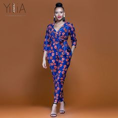 2018 New Summer Womens Slim Rompers Jumpsuit Women African Print Clothing  Casual Sexy Fashion Party Small Leg pants milk silk 7b9d40ffd230