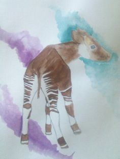 Water color baby okapi Okapi, Most Beautiful Animals, Dinosaur Stuffed Animal, Watercolor, Baby, Save The Date Cards, Pen And Wash, Watercolor Painting, Watercolour