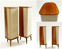 A couple of teak Raumklang IV speakers made by Grundig in the 50s. You can see more iconic mid-century furniture clicking on the pic.