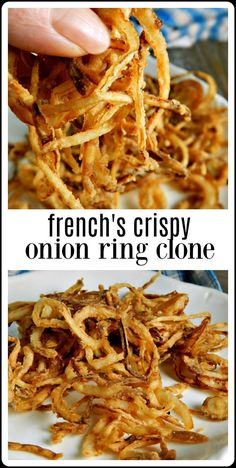 Copycat French's Crispy Onion Rings - Frugal Hausfrau Minutes to make these Copycat French's Onion Rings are crispy, crunchy deliciousness and so much better than buying them in a can! Fried Onions Recipe, Baked Onions, Crispy Onions, Beer Battered Onion Rings, Baked Onion Rings, Onion Rings Recipe, Recipe With Onion, Batter For Onion Rings, Homemade Onion Rings