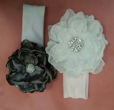 Fabric flowers /headband with bling