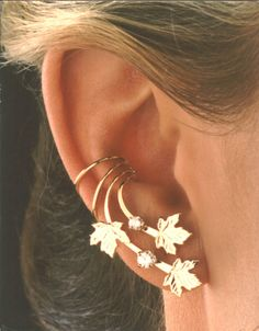 A Pair of Maple Leaves & Cubic Zirconia Long Gold Vermeil Ear Cuff Earrings. $98.00, via Etsy.