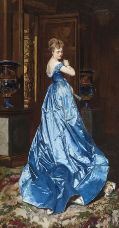 The Blue Dress - Edouard Frederic Wilhelm Richter