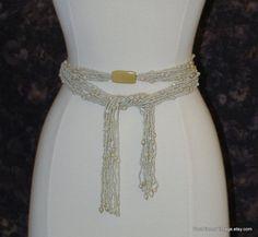 Vintage beaded belt 10-strand iridescent by PastPiecesVintage