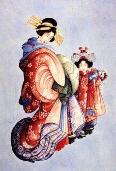 花魁と禿(葛飾北斎) Oiran and Kamuro  by  Hokusai Katsushika. @Anita Wood via Kimo Kame